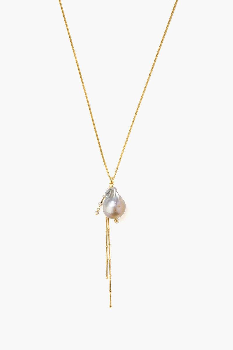 Grey Baroque Pearl Pendant Long Necklace