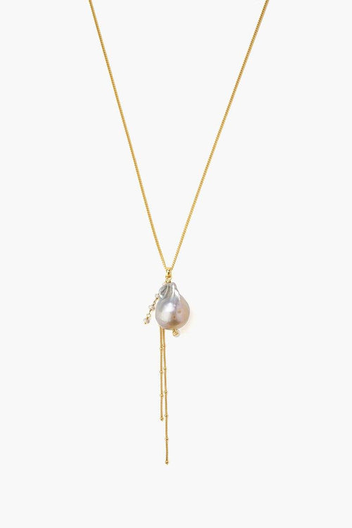 Grey Baroque Pearl Pendant Long Necklace (Pre-Order)