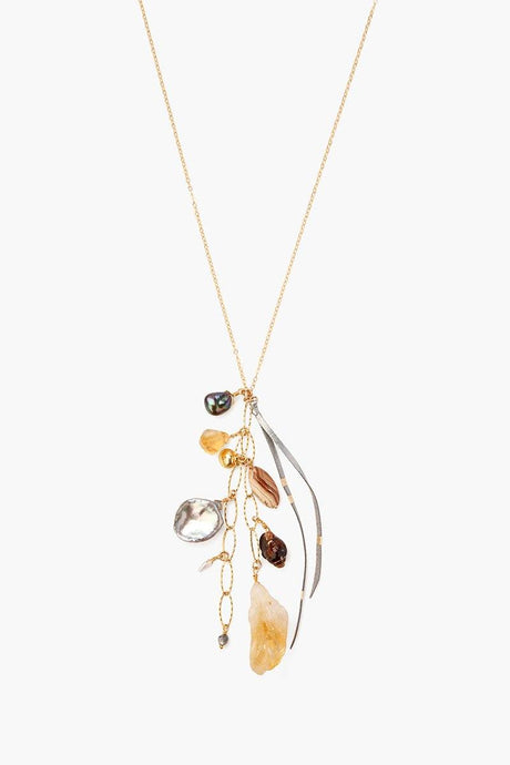 Citrine Mix Charm Necklace