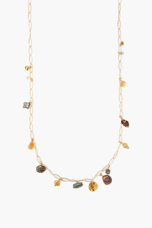 Citrine Mix Charm Long Necklace