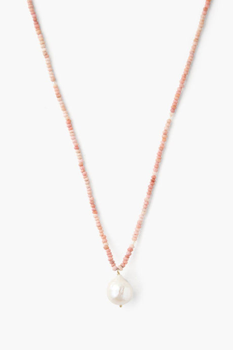 White Baroque Pearl and Pink Mix Beaded Necklace