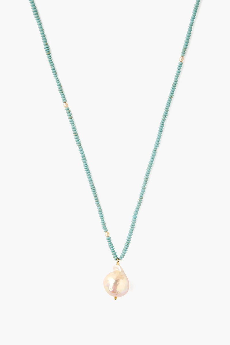 Turquoise Mix Natural Pink Baroque Pearl Pendant Necklace