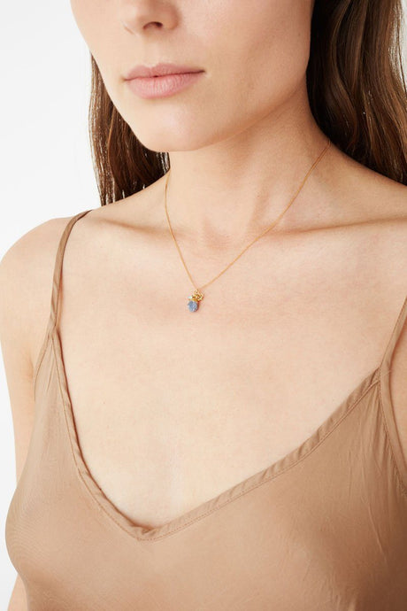 Blue Sapphire Rough Cut Necklace
