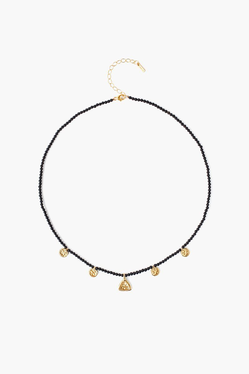 Onyx Beaded Squash Blossom Charm Necklace