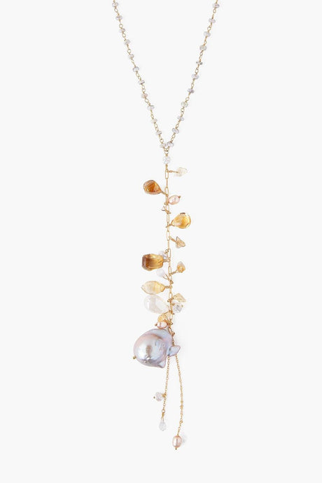 Citrine Mix and Grey Baroque Pearl Necklace