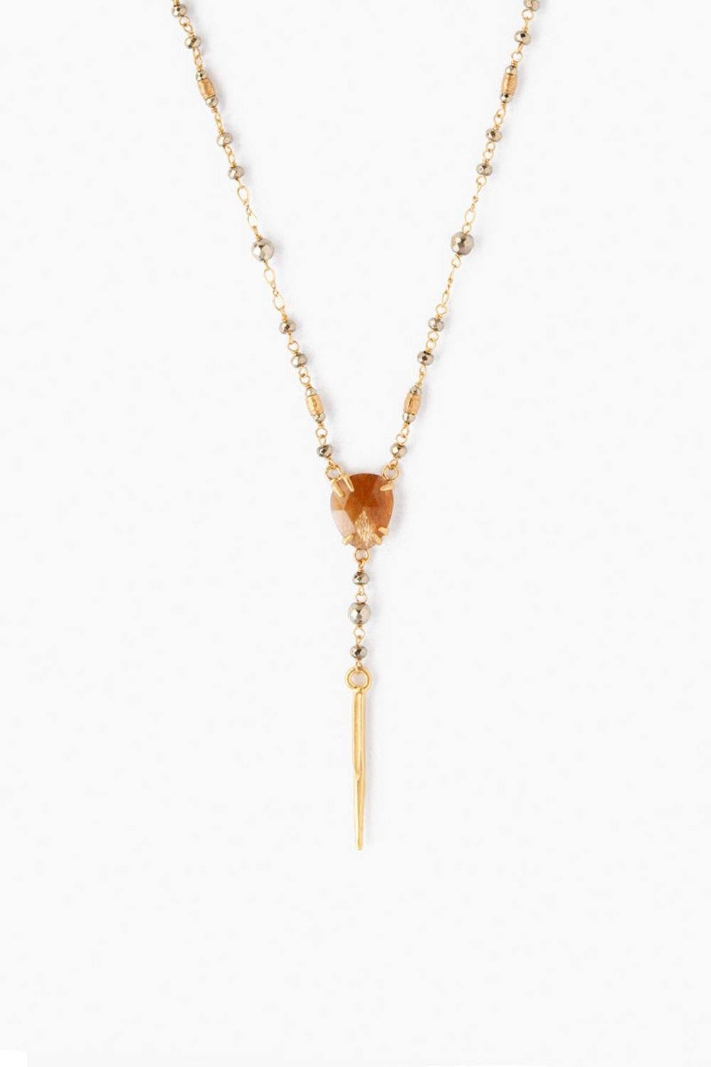 Pyrite Stone Mix Y-Necklace