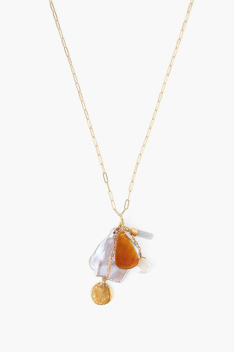 Gold Pearl Mix Charm Necklace