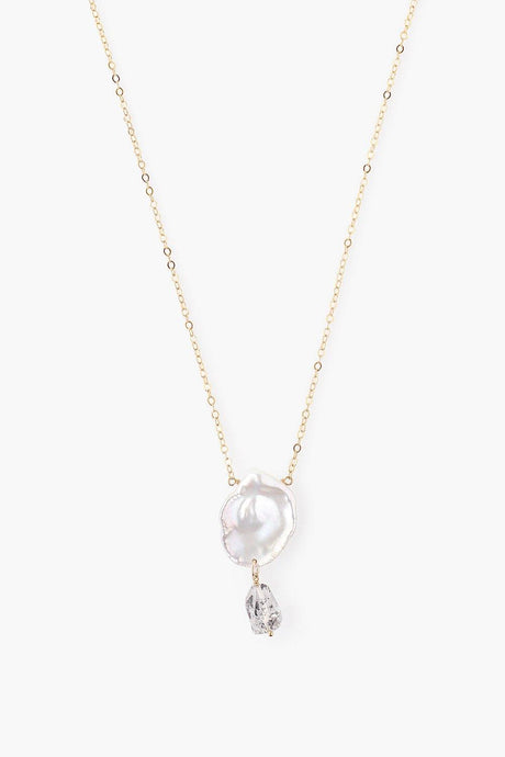 White Keshi Pearl and Herkimer Quartz Gold Necklace