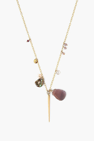 Chocolate Moonstone Mix Dagger Charm Necklace