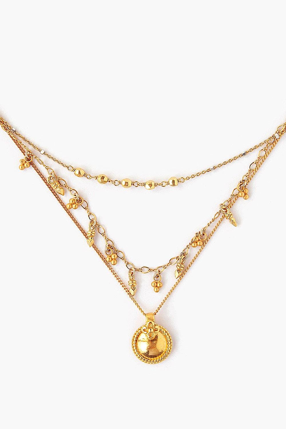 Yellow Gold Coin Charm Pre-Layered Necklace