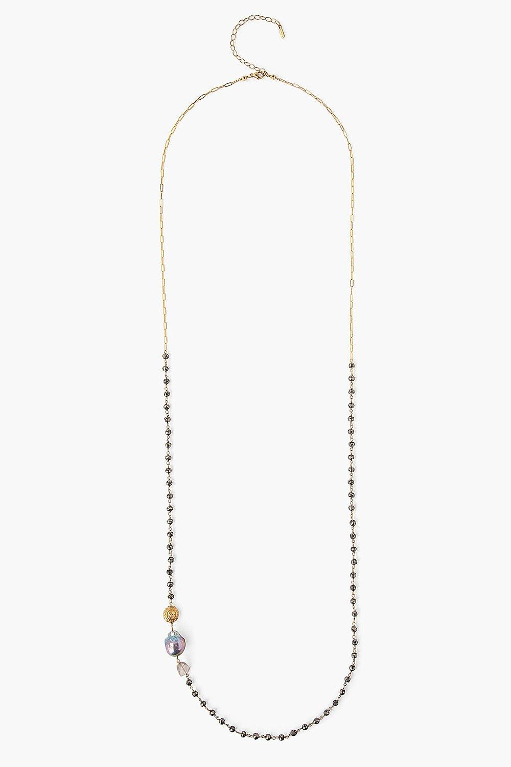Dark Champagne Baroque Pearl Long Necklace
