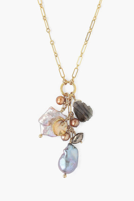 Gold Mix Baroque Pearl Ring Charm Necklace