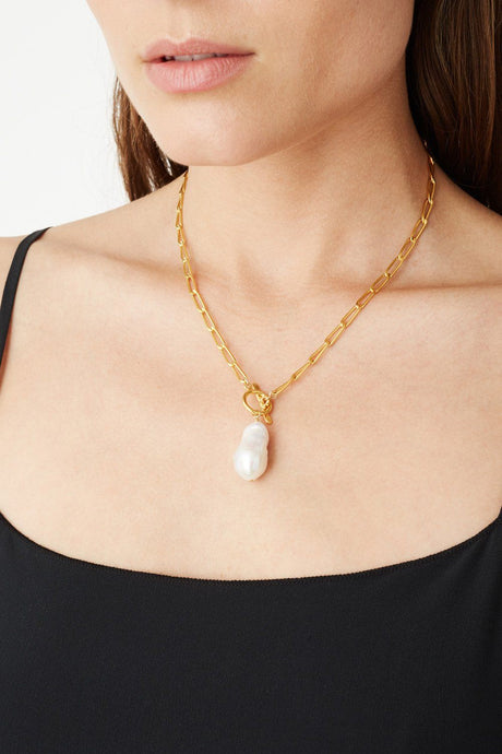 White Baroque Pearl Gold Toggle Necklace