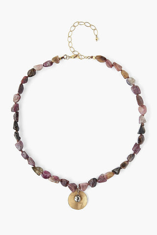 Tourmaline Coin Pendant Necklace