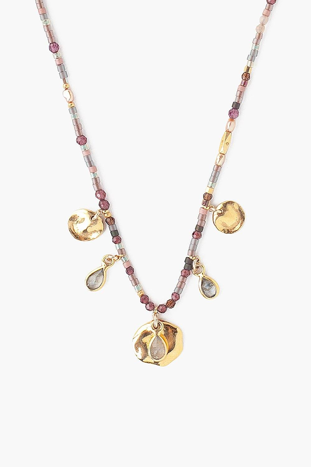 Garnet Mix Coin Charm Necklace