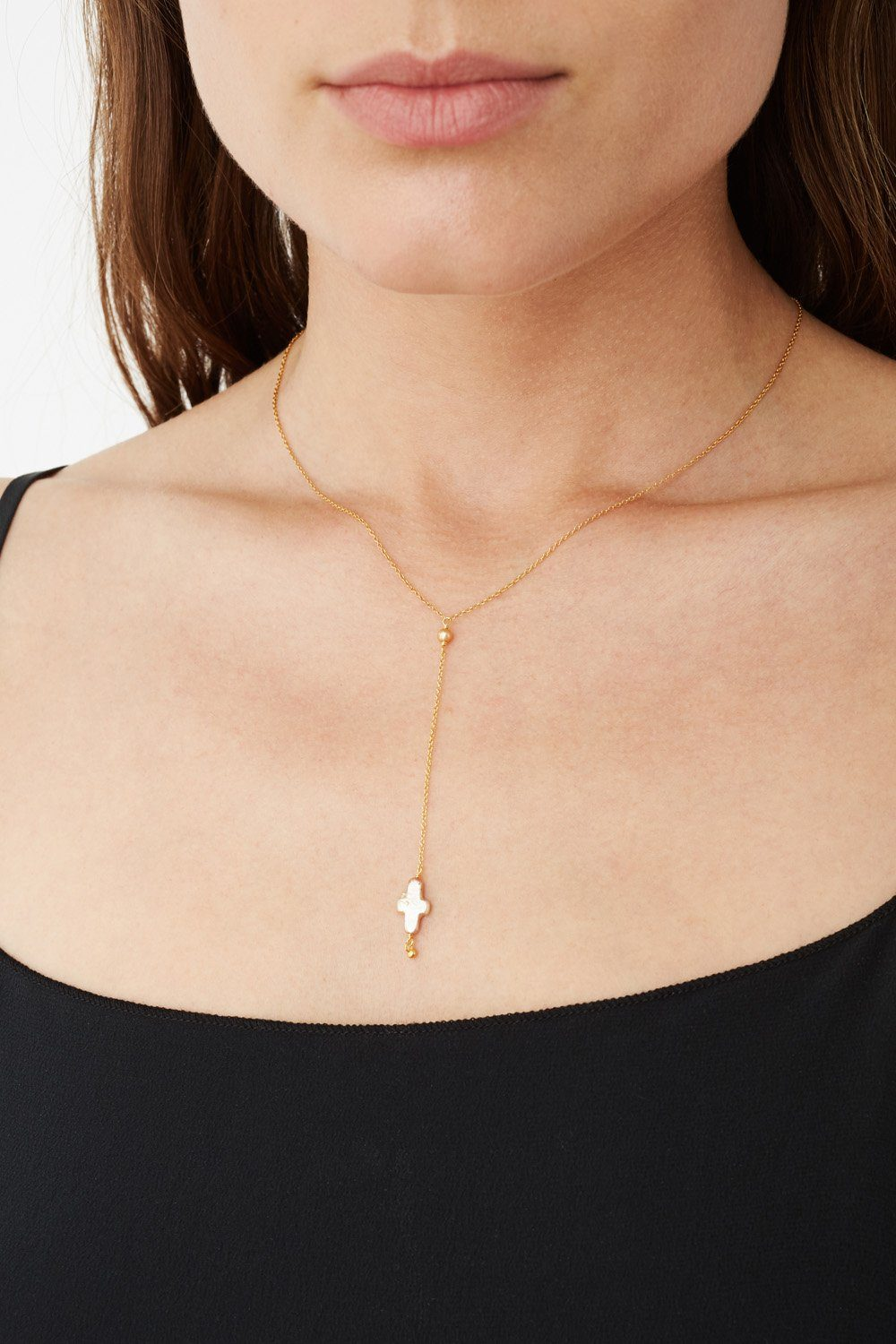 Champagne Pearl Mini Cross Y-Necklace