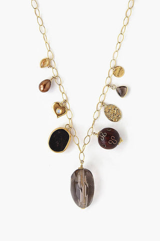 Smokey Quartz Mix Charm Necklace