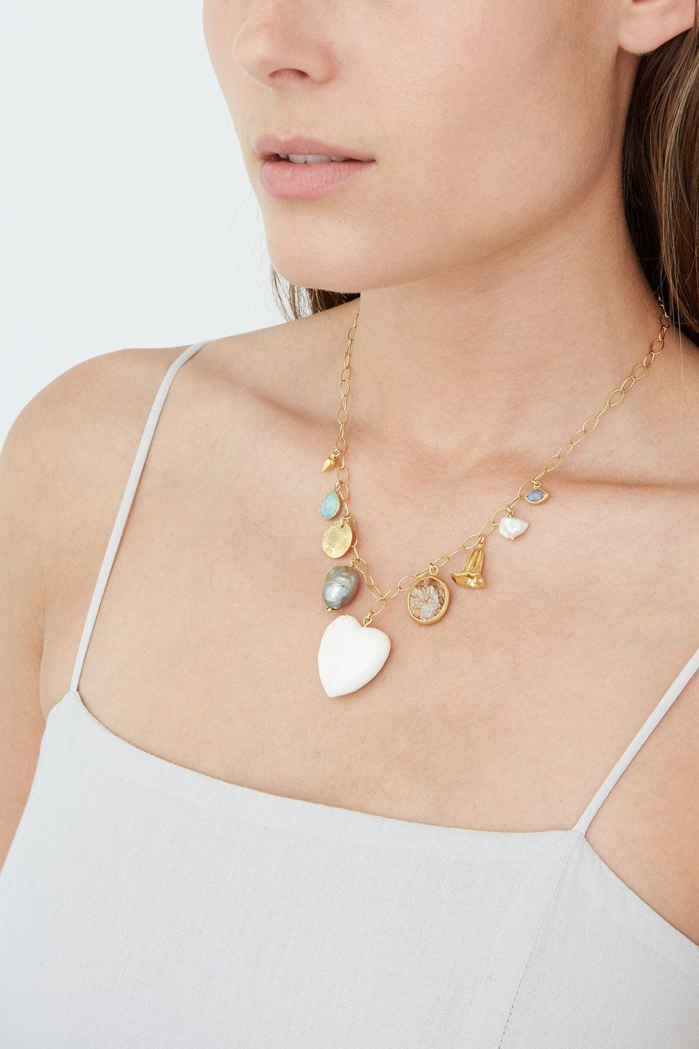 White Bone Mix Charm Necklace