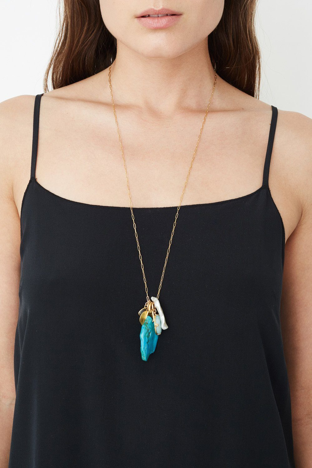 Turquoise Mix Charm Necklace