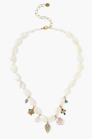 White Mother of Pearl Beaded Necklace