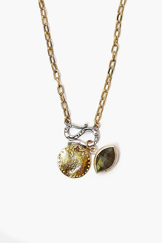 Yellow Gold Labradorite Evil Eye and Coin Charm Necklace