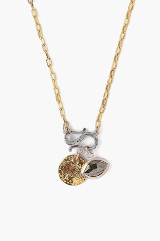 Pyrite Evil Eye and Coin Charm Necklace