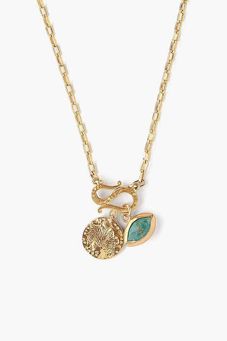 Turquoise Evil Eye and Coin Charm Necklace