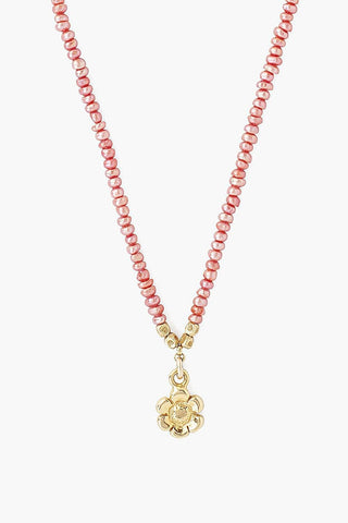 Pink Pearl and Flower Pendant Necklace