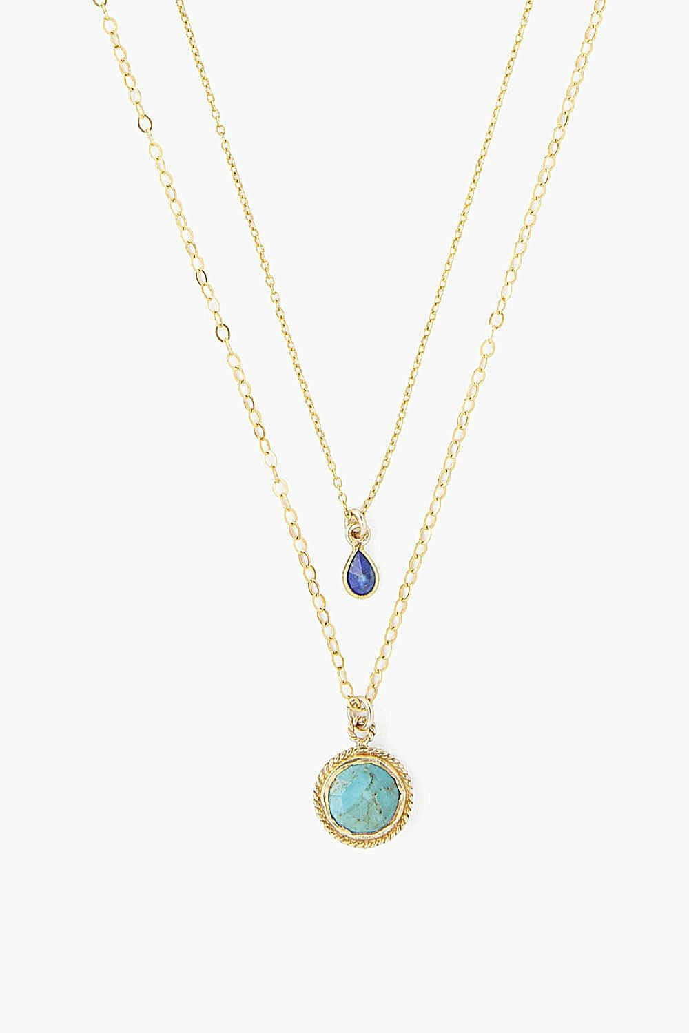 Turquoise Mix Teardrop Pre-Layered Necklace