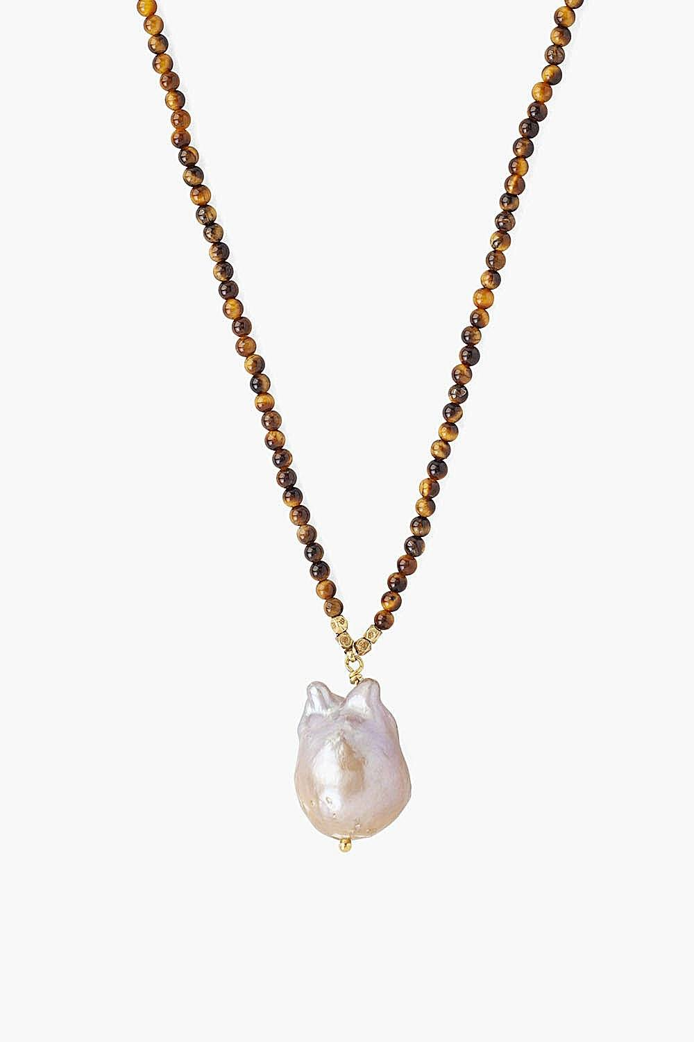 Tiger's Eye and Pink Baroque Pearl Necklace