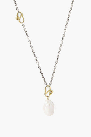 Snake and White Baroque Pearl Pendant Necklace