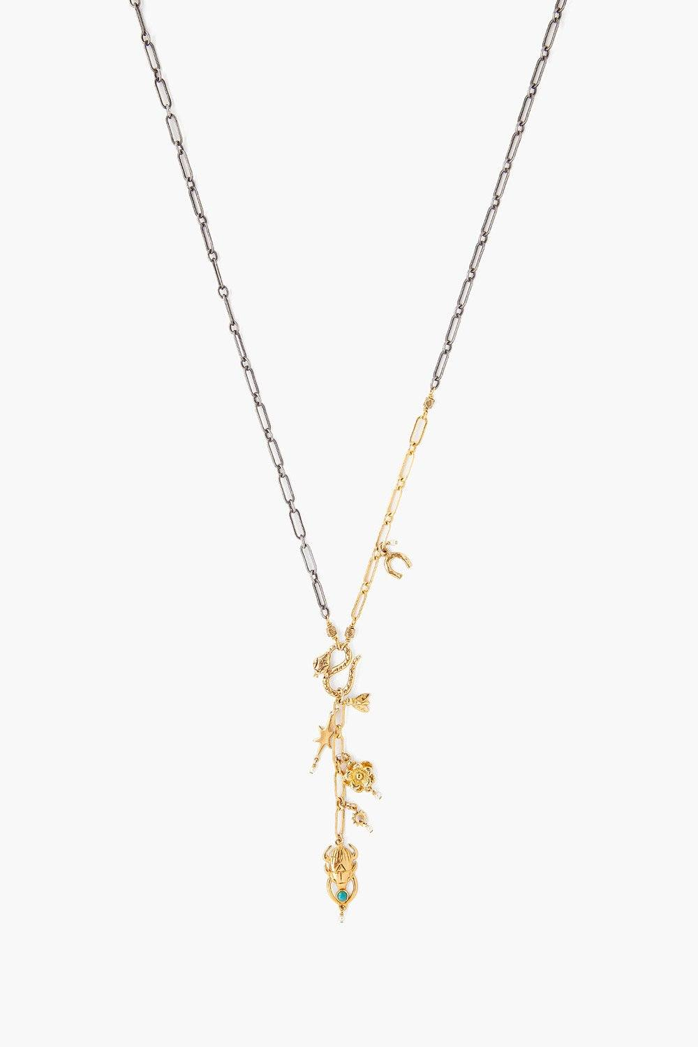 Gold Mix Charm Lariat Necklace
