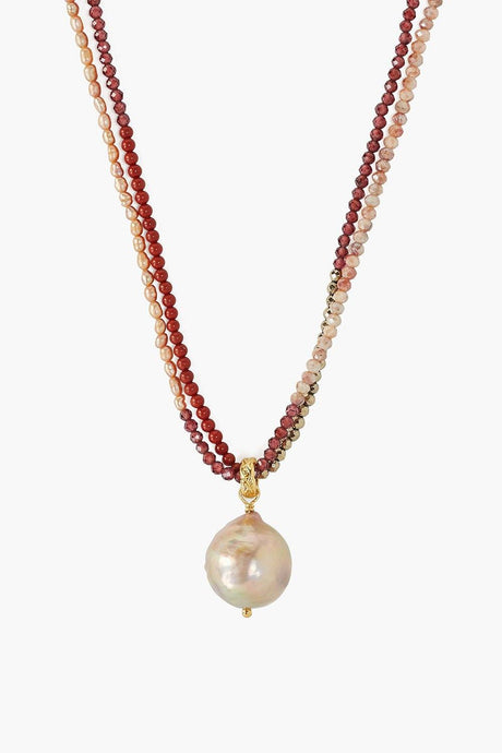 Baroque Pearl Garnet Color Block Necklace