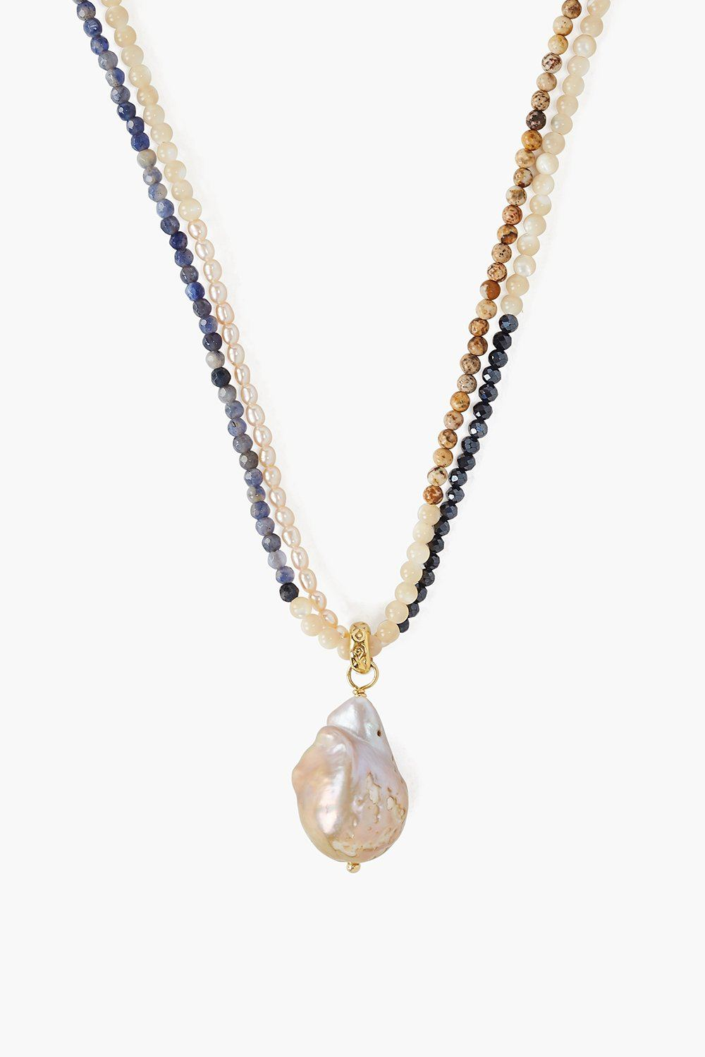 Baroque Pearl Natural Mix Color Block Necklace