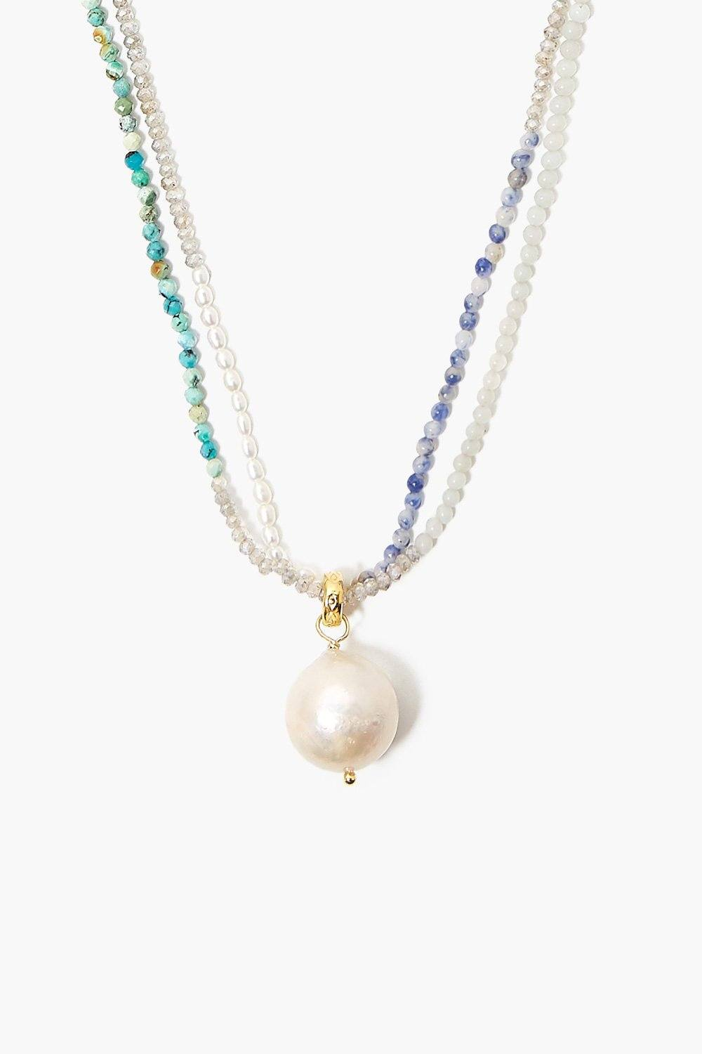 Baroque Pearl Labradorite Mix Color Block Necklace