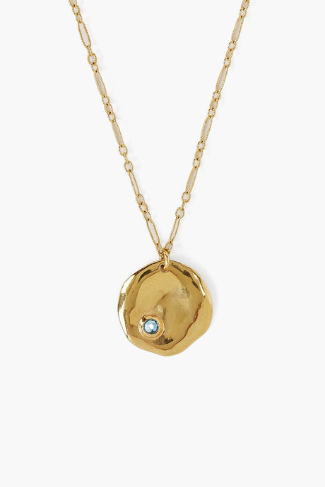 March Aquamarine Birthstone Coin Pendant Necklace