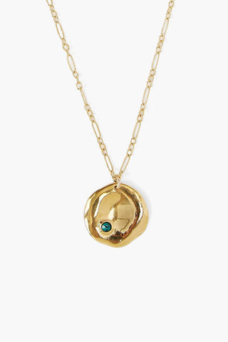 May Emerald Birthstone Coin Pendant Necklace