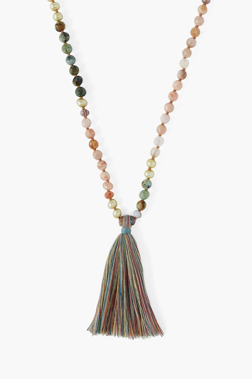 Sunstone Mix Beaded Necklace With Tassel