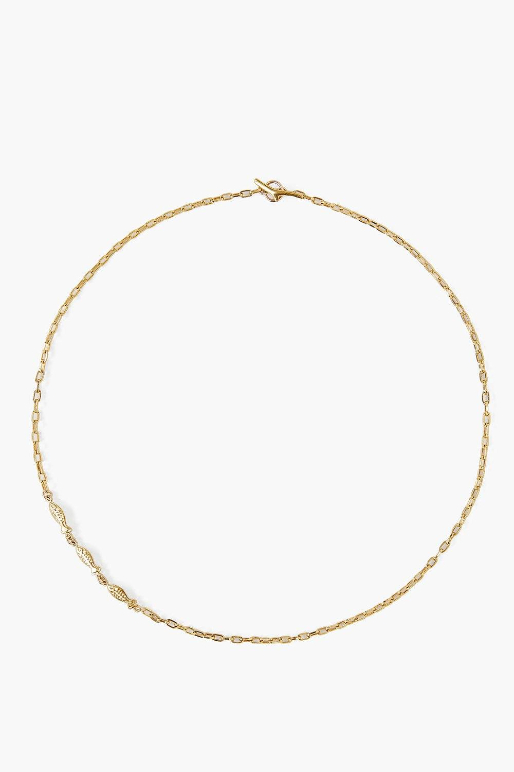 Yellow Gold Minnow Chain Necklace