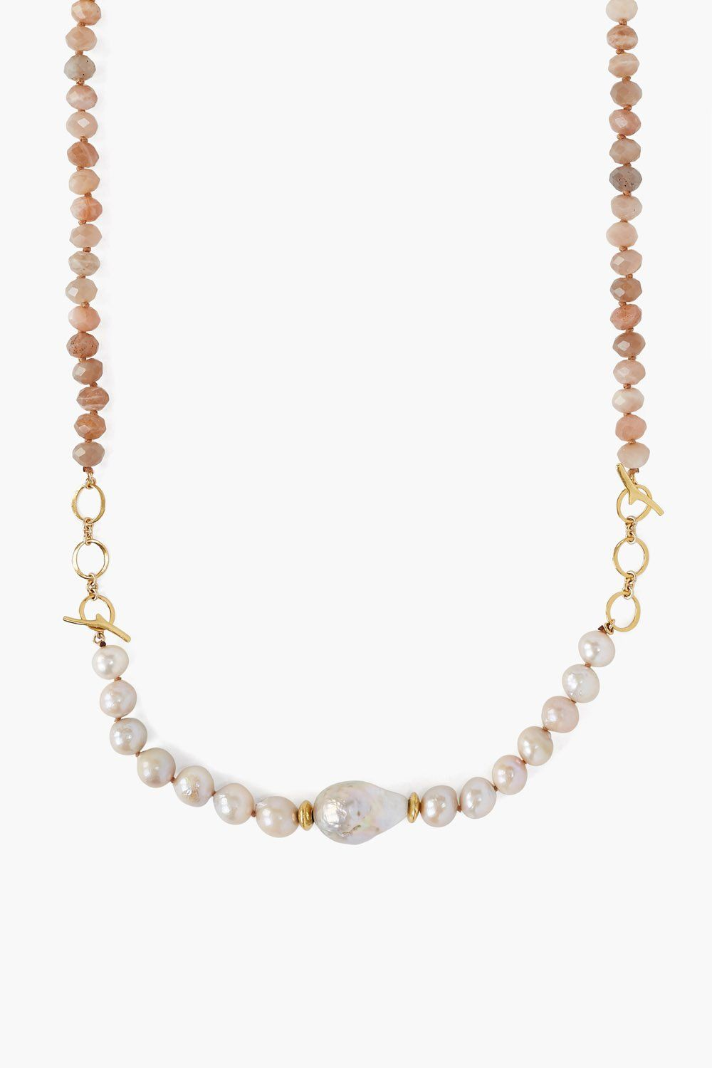 2-in-1 Pink Pearl Mix Toggle Necklace