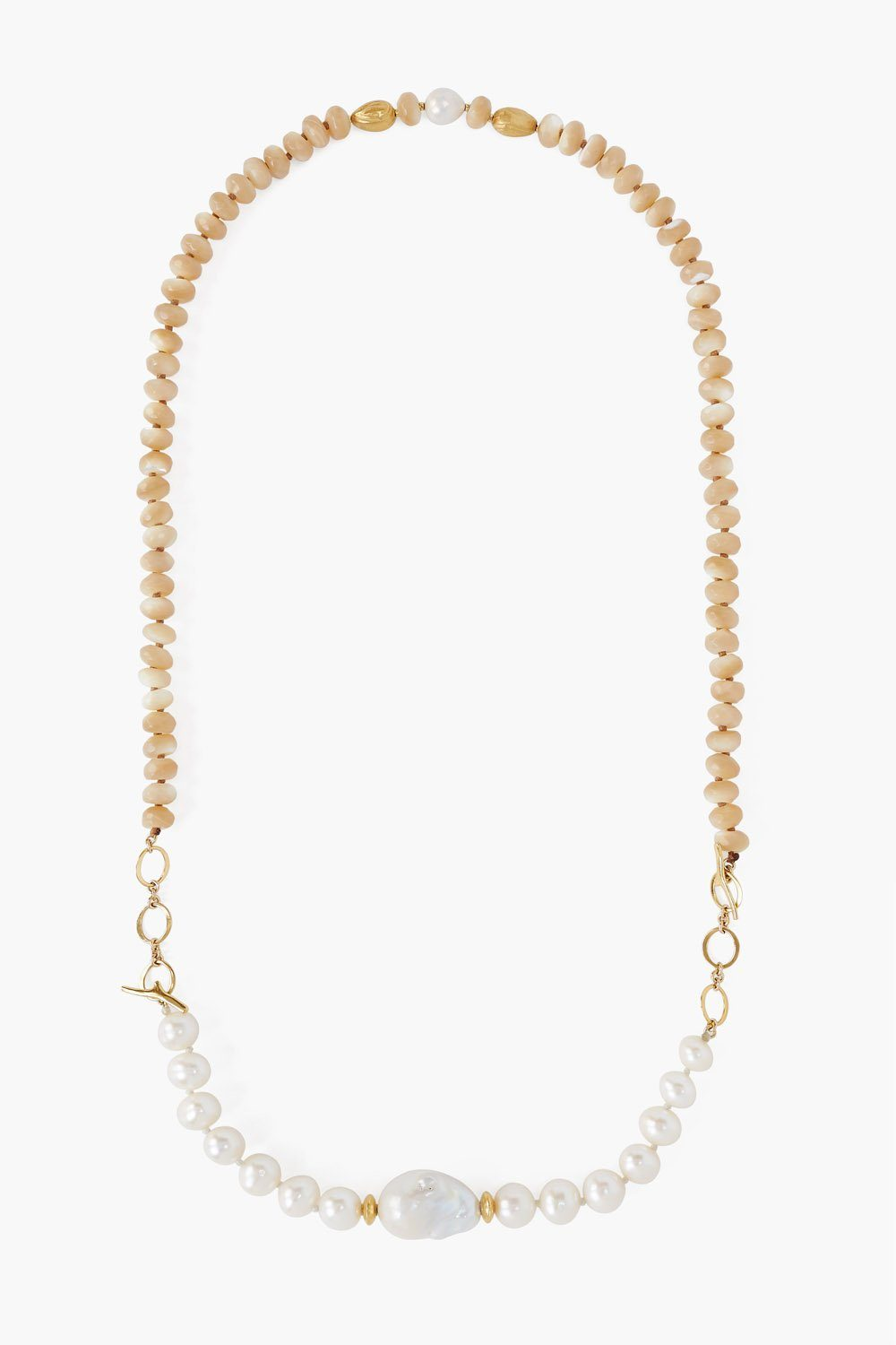 2-in-1 White Pearl Mix Toggle Necklace