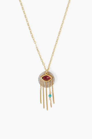 Garnet Crying Evil Eye Pendant Necklace