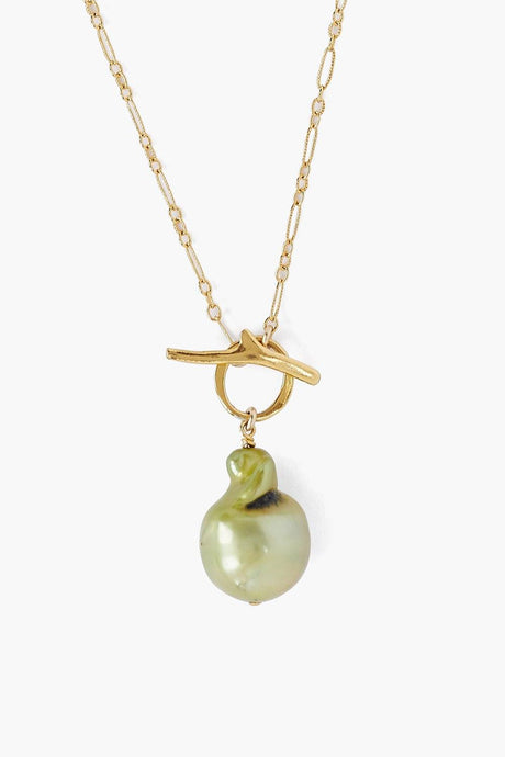 Green Freshwater Pearl Toggle Necklace