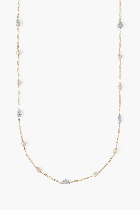 Freeform Pearl Long Necklace