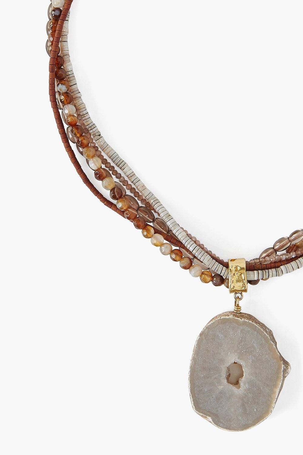 Brown Druzy Agate Multi Strand Necklace