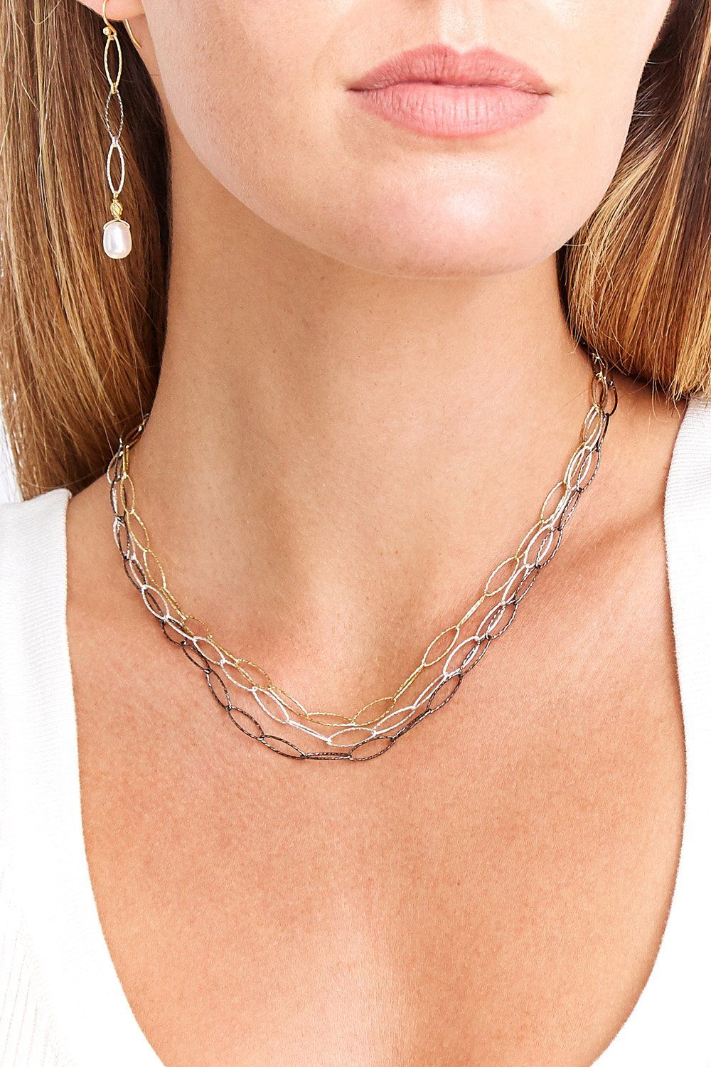 Gold Mix Triple Strand Chain Link Necklace