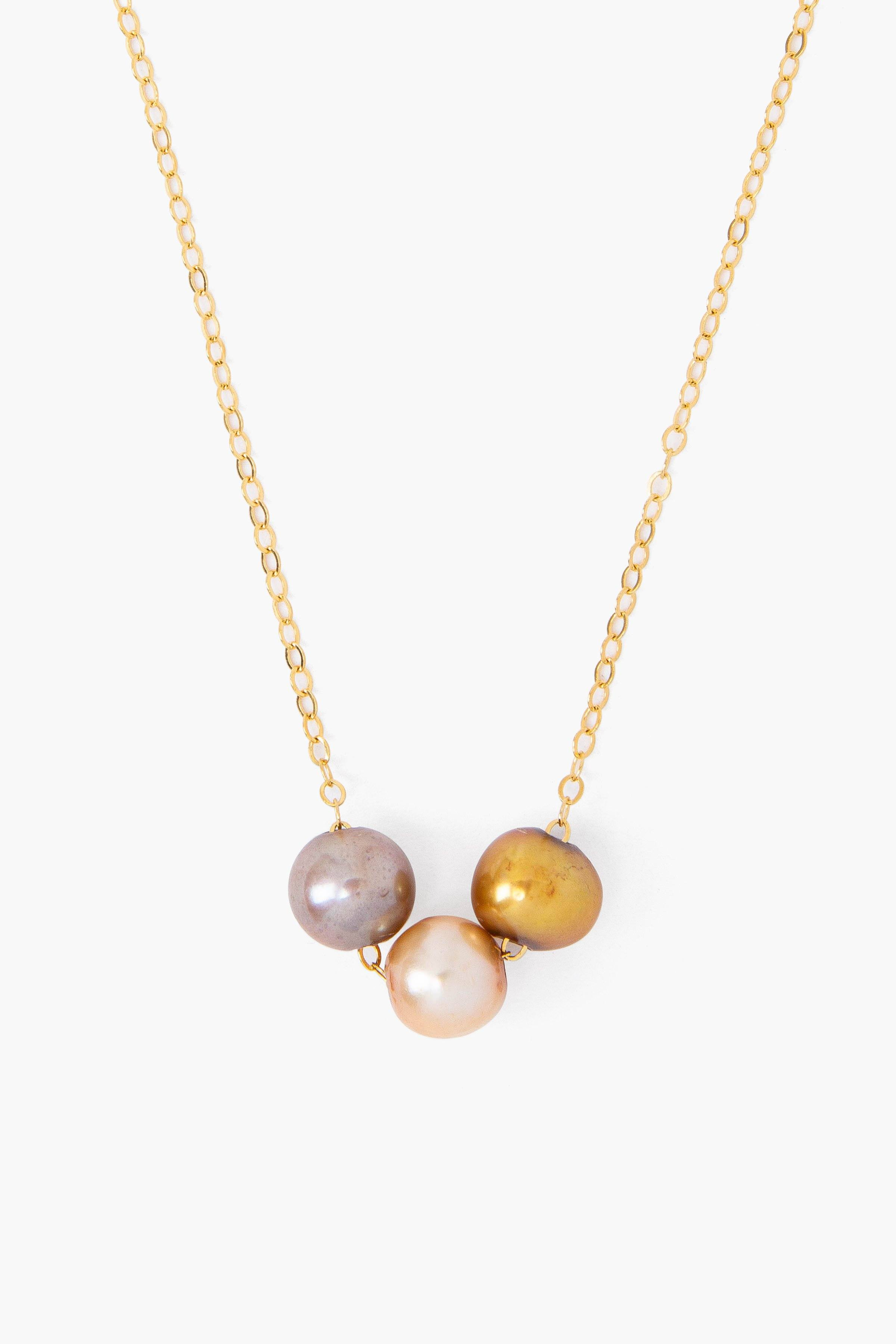 Champagne Mix Pearl Trinity Necklace