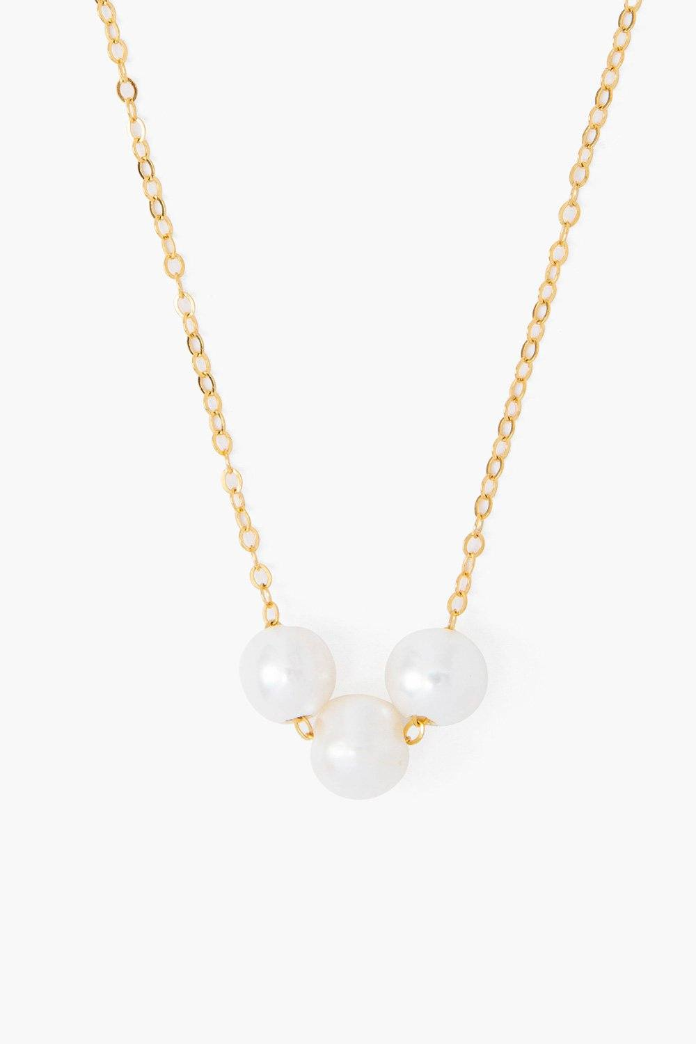White Pearl Trinity Necklace