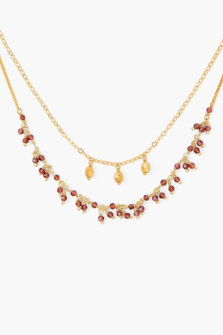Garnet and Silver Taj Necklace