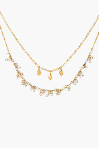 White Pearl and Gold Taj Necklace